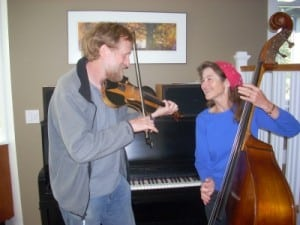 Harry Bolick and Pat Schories playing some old-timey at home in Hopewell Junction. Photo by J. Tao