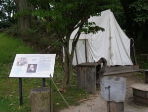 Outdoor exhibits feature 18th-century military camp life. Photo by M.A. Ebner