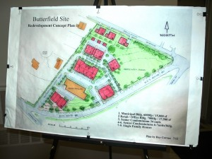 The redevelopment plan, which depends on demolition of the old Butterfield Hospital; photo by L.S. Armstrong