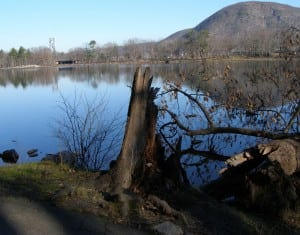 A paved pathway circles Hessian Lake at Bear Mountain State Park.Photo by M.A. Ebner