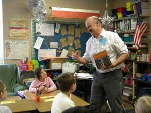 Adventure writer Peter Lourie visits Haldane fourth-graders Thursday, Dec. 13. Photo courtesy of Haldane