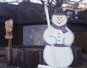 Rusty the Snowman is ready for a winter snowfall at Fahnestock Winter Park. Photo by M.A. Ebner