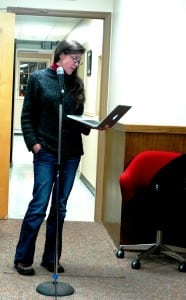 Stephanie Hawkins presents her accusations against the mayor. Photo by L.S. Armstrong