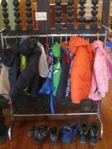 The 'Ducks' get their very own jacket rack at St. Philip's Nursery School. Photo by A. Rooney