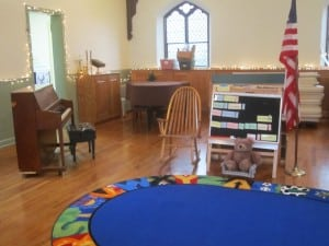 The piano, circle-time rug and learning board: each part of every day at St. Philip's Nursery School. Photo by A. Rooney