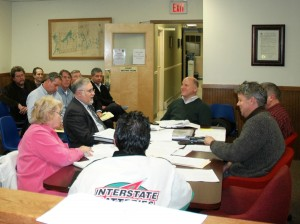 As residents and developer Paul Guillaro and his colleagues pay close attention, the Cold Spring Village Board and attorney Steve Gaba continue their work on draft rezoning for the Butterfield property. Photo by L.S. Armstrong