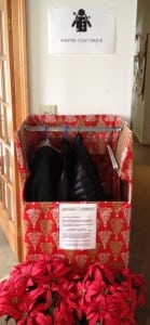 Donations to the coat drive at Houlihan Lawrence RealtyPhoto by C. Simek