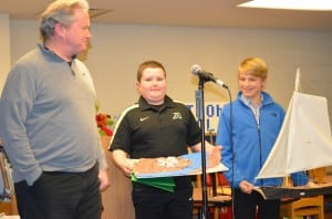 Ed Barry introduces Jean Saunders History Award winners Eddie-Joe Barry, his son, and George Weed, who visited the Board of Education meeting after receiving their awards Dec. 12.Photo by J. Tao