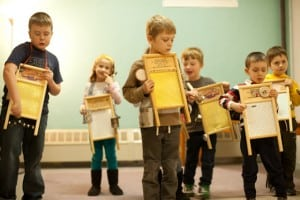 Students playing the washboards during class at Beacon Music Factory. Photo courtesy BMF