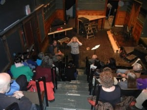 Cat Guthrie leads the singers at an introductory meeting of the Dream Choir at the Depot Theatre.