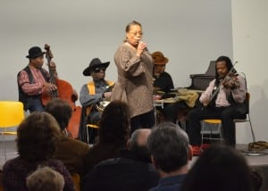 The Ebony Hillbillies play in the Martin Luther King Jr. Day children's concert at the Desmond-Fish Library on Monday, Jan. 21. Photo by Jeanne Tao