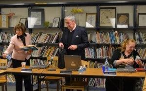 Garrison School Superintendent Gloria Colucci, Board President Raymond O'Rourke and Vice President Diana Swinburne wrap up the Jan. 2 meeting. Photo by J. Tao