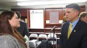 Gipson spoke with Haldane senior Lindy Labriola during the break. Labriola expressed concern about the future of education programs at Haldane.
