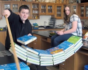 Garrison Middle School students test the strength of duct tape during MAD Science Week. Photo courtesy of Garrison School