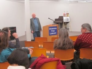 Stewart Burns taking questions after the talk at Desmond-Fish Library on Jan. 20 (Photo by A. Rooney)