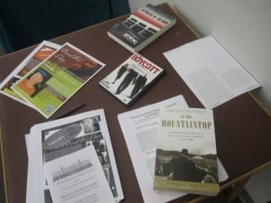 A table full of materials to peruse at the Martin Luther King Jr. Day observance at Desmond-Fish Library on Jan. 20 (Photo by A. Rooney)