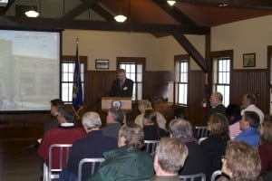 Ned Sullivan, president of Scenic Hudson, opens the conference on PCB cleanup. Photo by K.E. Foley