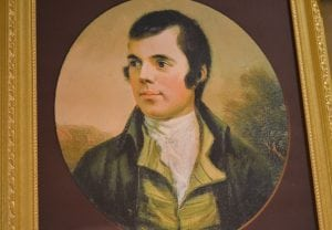 A portrait of Scottish poet Robert Burns sits upon the mantel at Highlands Country Club for Burns Night, Jan. 26. Photo by J. Tao