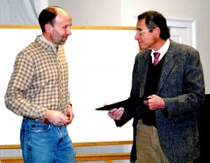 Supervisor RIchard Shea with retiring attorney Ed Doyle; photo by Mike Armstrong