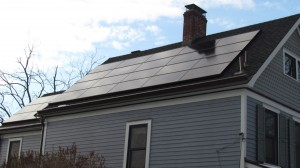 Michael Robinson's system includes 27 solar panels that generate 80 percent of the household's electricity needs. Photo by M. Turton