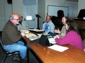 Kevin Donohue, left, code enforcement officer, meets with Philipstown Town Board members Dave Merandy, John Van Tassel, Richard Shea and Nancy  Montgomery. Photo by L.S. Armstrong