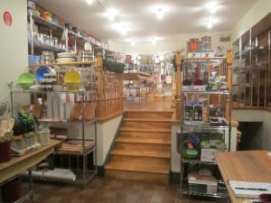 Utensil store interior with steps