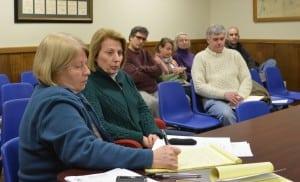 Cold Spring Village Clerk Mary Saari, left, takes notes as Putnam County Legislator Barbara Scuccimarra speaks to the Village Board during her visit to their meeting Jan. 15.