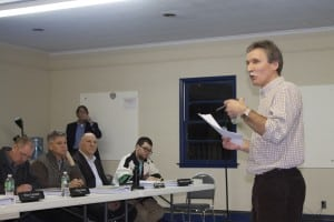 Peter Henderson addresses the Village Board at the Butterfield hearing Jan. 29. Photo by K.E. Foley