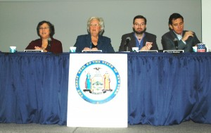 The campaign finance panel, left to right: Susan Lerner, Sandy Galef, Jesse Laymon and Dick Dadey; photo by L.S. Armstrong