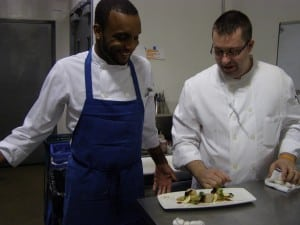 Sous chef Chris Limerick collaborates with Chef Brandon Collins in the Swift kitchen.