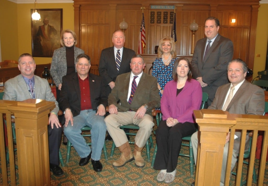 The Putnam County Legislature: Lower row -- Anthony DiCarlo, left, Sam Oliverio, Richard Othmer, Dini LoBue, Carl Albano; Upper row -- Barbara Scuccimarra, left, Richard Gross, Ginny Nacerino, Joseph Castellano. Photo by L.S. Armstrong