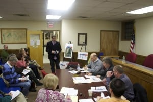 Ray Fusco, standing, addresses Cold Spring trustees  (Photo by K.E. Foley)