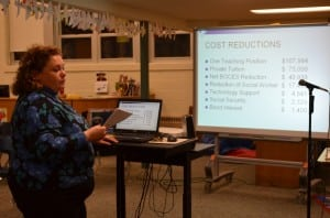 Garrison School Business Manager Sue Huetter gives a presentation on the tentative budget to the School Board. Photo by J. Tao