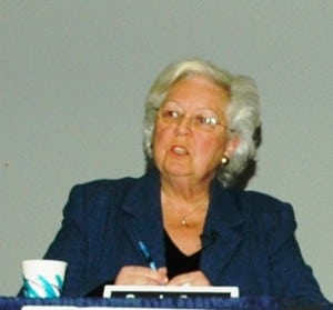 Assemblywoman Sandy Galef addresses the audience on Saturday. Photo by L.S. Armstrong