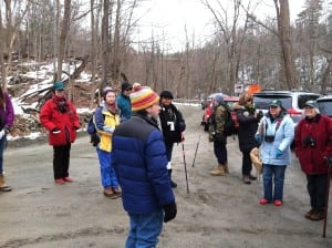 Audubon's Pete Salmansohn addressing his eagle walk members (Photo by K.E. Foley)