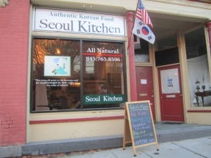 Two flags are flown at Seoul Kitchen.