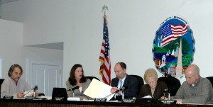 The Town Board works through its agenda; left to right: Councilors Dave Merandy and Nancy Montgomery; Supervisor Richard Shea, Councilors Betty Budney and John Van Tassel.