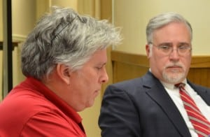 Bannerman Castle Trust Director Neil Caplan, left, presents to the Cold Spring Village Board on March 26, as Village Attorney Stephen Gaba listens.