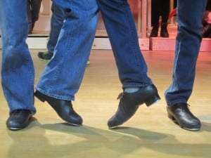 Two of the tap dancing cowboys in rehearsal. Photo by A. Rooney
