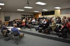 The audience listens to mayoral candidate Ralph Falloon at the March 13 forum. Photo by Jeanne Tao