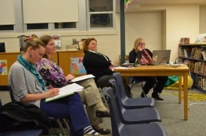 Garrison School teachers Stacy Ricci and Tiffany Timmons, Business Manager Sue Huetters and Principal Stephanie Impellittiere at the March 20 School Board meeting (Photo by J. Tao)