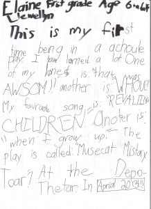 Six-year-old Elaine Llewellyn's contribution to this story (Image courtesy of Carolyn Llewellyn)
