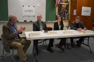 Gordon Stewart, left, moderated the March 13 forum for trustee candidates Michael Bowman, Stephanie Hawkins and Bruce Campbell. Photo by Jeanne Tao