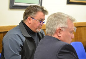 Water and Wasterwater Superintendent Greg Phillips, left, and former Trustee Gordon Robertson at the March 26 Cold Spring Village Board meeting