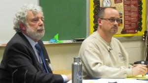 Haldane Superintendent Mark Villanti, left, and School Board President Michael Junjulas at the March 19 meeting