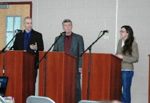 Trustee candidates Mike Bowman, Bruce Campbell and Stephanie Hawkins at the March 4 debate. Photo by Liz Armstrong