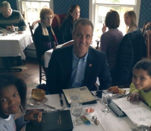 U.S. Rep. Sean Patrick Maloney and his daughters dined at the Hudson House in Cold Spring on March 16, during Hudson Valley Restaurant Week. Photo courtesy of the Valley Table