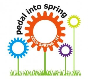 The logo created for Pedal Into Spring creatively combines the weekend's two major themes: cycling and flowers.