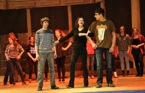 Matt Marino, left, Kady Neill and Cory Zouzias in rehearsal for Crazy for You. Photo by Maggie Benmour