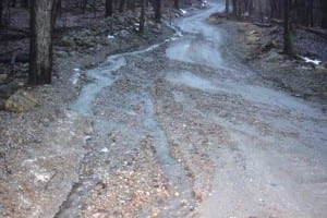Storm-water flows along East Mountain Road South. Photo courtesy of Robert Juby